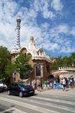 巴塞罗那,西班牙- 2017年8月30日, :入口的看法对公园Guell的安东尼Gaudi,卡塔龙尼亚 免版税图库摄影