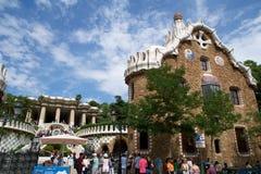 巴塞罗那,西班牙- 2017年8月30日, :入口的看法对公园Guell的安东尼Gaudi,卡塔龙尼亚 免版税库存图片