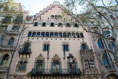巴塞罗那,西班牙- 2016年3月30日:住处Amatller大厦门面 现代派建筑学和样式 结构和设计 免版税库存图片
