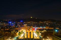 巴塞罗那,西班牙- 2018年1月02日:在西班牙正方形的看法从 免版税库存照片