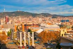 巴塞罗那,西班牙- 2017年12月31日:在西班牙正方形的看法从 图库摄影