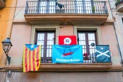 巴塞罗那,西班牙- 2018年1月01日:投票的标志在r 免版税图库摄影