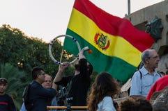 巴塞罗那,西班牙2017年10月12日:抗议反对在美国的发现的上庆祝 库存照片