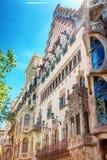 巴塞罗那,西班牙- 2016年4月18日:Illa de la Discordia 门面住处Amatller是在Modernisme样式的一个大厦在巴塞罗那 免版税库存图片