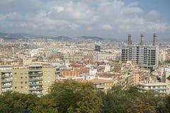 巴塞罗那,西班牙- 2017年10月14日 城市概要 免版税库存照片
