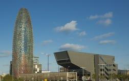 巴塞罗那,西班牙- 2017年10月14日 Torre Agbar最著名的摩天大楼在城市 免版税图库摄影