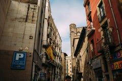 巴塞罗那,西班牙- 6月30 大街通过Laietana是一个主要通途的名字在6月30日的巴塞罗那 库存照片