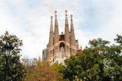 巴塞罗那,西班牙- 1月02 2016年:Sagrada Familia巴塞罗那 库存照片