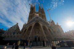 巴塞罗那,西班牙- 4月10,2018 :Sagrada Familia的看法, 库存照片