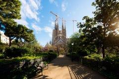 巴塞罗那,西班牙- 4月10,2018 :Sagrada Familia的看法, 免版税库存图片