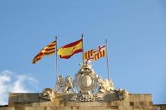 巴塞罗那, ââCatalonia和西班牙的标志 库存图片
