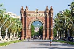 巴塞罗那- 7月18 :Arc de Triomf地标在2018年7月18日的Ciutat Vella区在巴塞罗那 免版税图库摄影