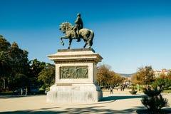 巴塞罗那Estatua一般equestre的del拘谨 库存图片