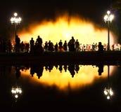 巴塞罗那montjuic喷泉的魔术 库存照片