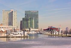 巴尔的摩内在港口全景在冬天 库存照片