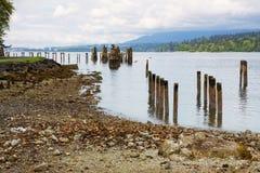 巴尼特海岸公园海滩和历史的废墟 免版税库存照片