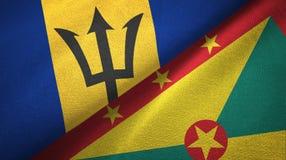 巴巴多斯和格林纳达两旗子纺织品布料,织品纹理 向量例证
