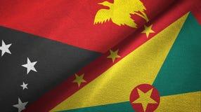 巴布亚新几内亚和格林纳达两旗子纺织品布料,织品纹理 向量例证