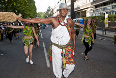 巴布达狂欢节舞蹈演员浮动 免版税库存照片