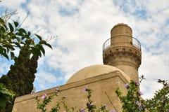 巴库,在嘘期间fortless的15世纪清真寺建造的 免版税库存照片