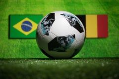 巴库,阿塞拜疆- 2018年7月04日:创造性的概念 官员俄罗斯2018年世界杯橄榄球球爱迪达在绿色gr的Telstar 18 免版税图库摄影