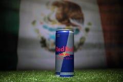 巴库,阿塞拜疆- 2018年7月01日:创造性的概念 红色公牛经典之作250 ml在草能 支持您的世界杯的国家2018年 免版税库存照片