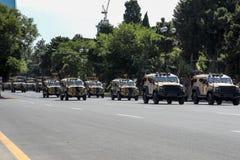 巴库,阿塞拜疆- 2018年6月26日-军事游行在巴库,阿塞拜疆在军队天 庆祝胳膊的100th周年阿塞拜疆 库存图片