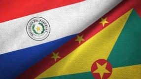 巴拉圭和格林纳达两旗子纺织品布料,织品纹理 库存例证