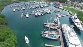 巴拿马的港有小船的 股票视频