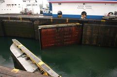 巴拿马运河开放门 库存图片