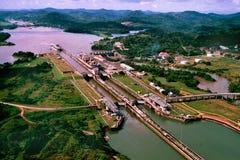 巴拿马运河视图 免版税图库摄影