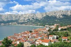 巴斯卡, Krk海岛,亚得里亚海,克罗地亚 免版税库存照片