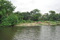 巴斯拉市Buriganga河,达卡,孟加拉国点视图  免版税库存照片