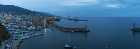 巴斯蒂亚,可西嘉岛,盖帽Corse,夜,地平线,旧港口,港口,灯塔,在日落以后 免版税图库摄影