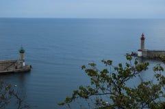 巴斯蒂亚,可西嘉岛,盖帽Corse,夜,地平线,旧港口,港口,灯塔,在日落以后 免版税库存照片