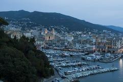 巴斯蒂亚,可西嘉岛,盖帽Corse,夜,地平线,旧港口,港口,灯塔,在日落以后 免版税库存图片