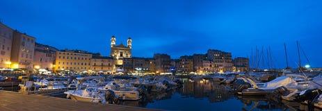 巴斯蒂亚,城堡,老镇,口岸,港口,夜,可西嘉岛,上部Corse,法国,欧洲, 免版税库存照片