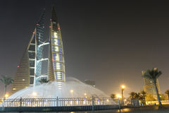 巴林中心晚上场面贸易世界 免版税库存图片