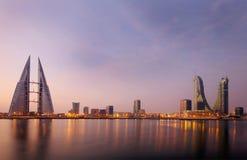 巴林地平线美丽的景色从巴林海湾的 库存图片