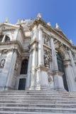 巴洛克式的教会圣玛丽亚della致敬,门面,威尼斯,意大利 库存图片