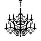 巴洛克式的枝形吊灯剪影 免版税库存图片