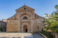 巴洛克式的样式圣玛丽亚教区的门面在西贡萨  瓜达拉哈拉西班牙 免版税库存图片