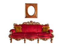 巴洛克式的红色沙发 库存照片