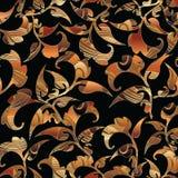 巴洛克式的花卉无缝的样式 留下装饰物 库存照片