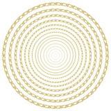 巴洛克式的金黄链背景 现实例证被隔绝在白色背景 库存图片