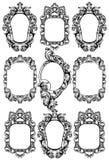 巴洛克式的镜子框架 传染媒介皇家装饰设计元素 富有encarved装饰品线艺术 库存例证