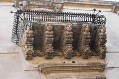 巴洛克式的阳台,西西里岛 免版税库存照片