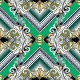 巴洛克式的3d无缝的样式 现代wal传染媒介花卉的背景 皇族释放例证