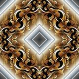 巴洛克式的3d无缝的样式 wal现代传染媒介锦缎的背景 向量例证