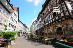 巴特克罗伊茨纳赫都市风景有它的历史房子和restau的 库存照片